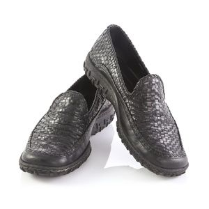 Cole Haan Country Black Leather Weave Loafers